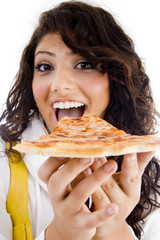 pretty woman eating delicious pizza