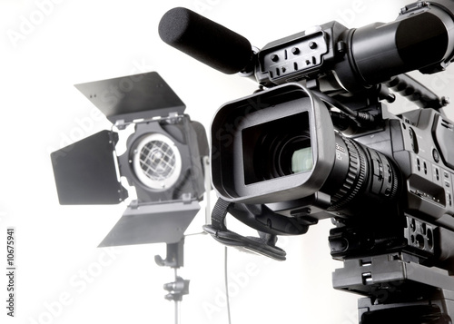 canvas print picture dv camcorder and light
