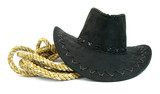 Black cowboy hat and lasso rope