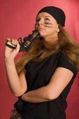pensive girl in pirate costume