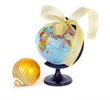 World globe and christmas sphere