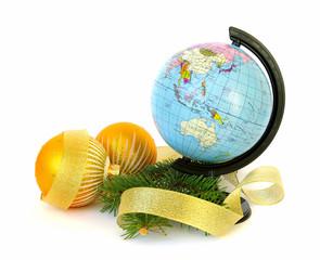 World globe and christmas decoration