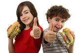 Fototapety Kids eating healthy sandwiches showing Ok sign, isolated