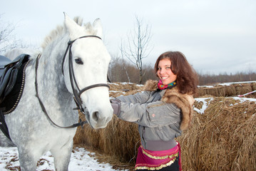 beautiful girl gypsy with horse.