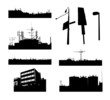 set of urban city landscapes silhouette