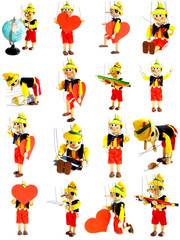 Collection of wooden puppets