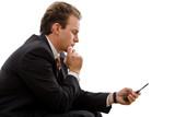 Businessman sending SMS poster