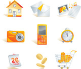 Icon set - web, commerce and electronics items. poster
