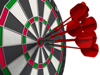 darts hitting directly in bulls eye