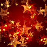 Fototapety golden stars in red