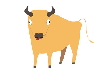 Cute yellow bull staring at you, symbol of new year 2009, vector