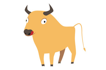 Cute yellow bull, symbol of new year 2009, vector