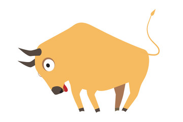 Cute yellow bull butting, symbol of new year 2009, vector