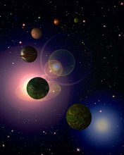 Cosmic sky with planets