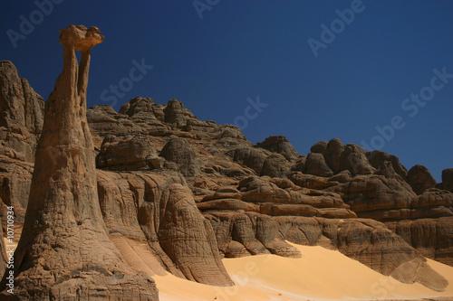 Poster Algerije Sculptures de pierre au sahara