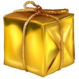 Gold Christmas Box - decoration object as illustration poster