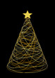christmas tree, gold card background