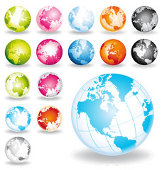 Aerian globes vector and isolated