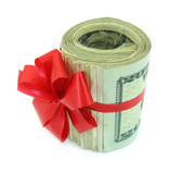 Dollars gift bunch present with red tie