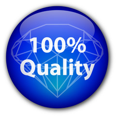 """""""100% Quality"""" button with diamond"""