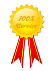 """100% Service"" badge"