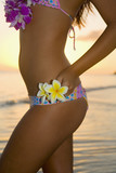 beautiful young  local woman on the beach in lanikai poster