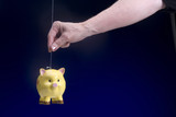 Piggy Bank suspended by wire