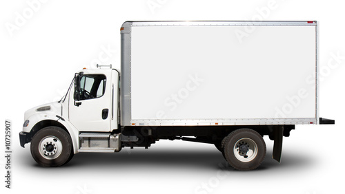 White Delivery Truck Side View - 10725907