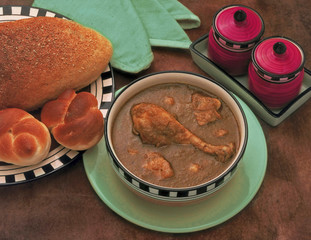 Chicken masala curry and bread. Maharashtra, india.