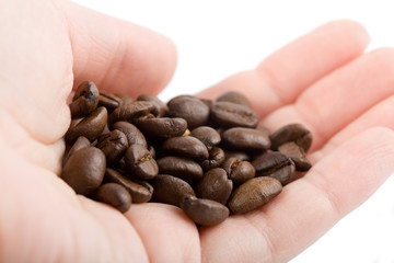 hand holding coffee beans isolated