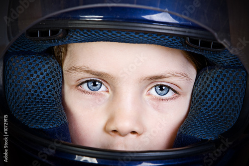 Blue Eyed Child in Crash Helmet
