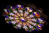 Stained-glass window in catholic cathedral poster