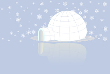 Igloo on ice with snow flake. Vector.