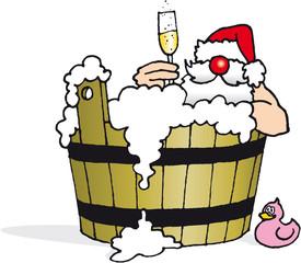 der Weihnachtsmann badet