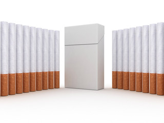 Pack of cigarettes and cigarettes