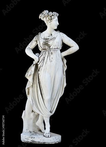 Statue on black background showing a greek mythical muse