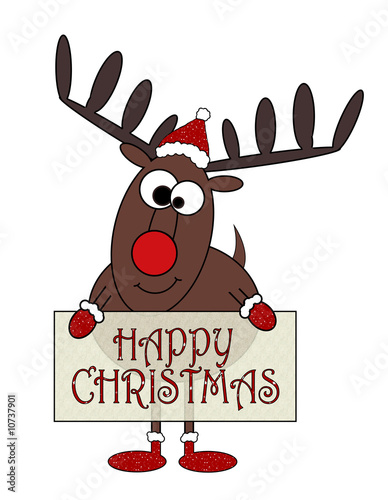 Rudolf With Signboard Message Cartoon - Isolated On White