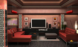 An interior Visualization a living room. poster