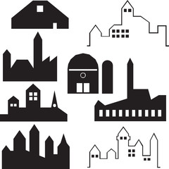 Industrial buildings silhouettes vector