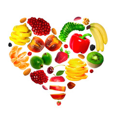 An heart maked with various fruits isolated on white