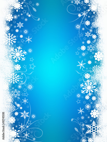 Illustration: Snow on blue background