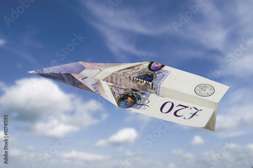 Twenty pound note plane