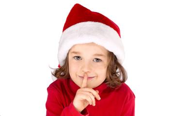 Kind mit Weihnachtsmütze macht psssst