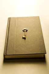 Book with golden key (warm)