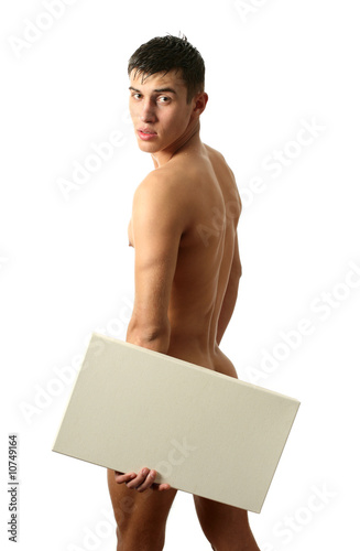 Nude Man with Copy Space Blank Billboard