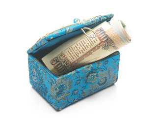 Currency inside t he blue box