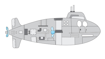 illustration of a submarine with details of inside the vessel