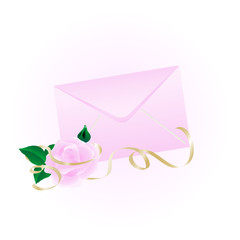 Rosy envelope with the rose