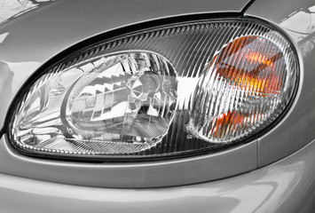 the car headlamp, closeup