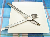 dish with fork and knife poster